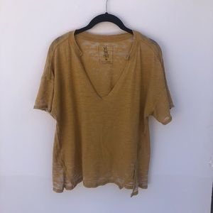 Free People We The Free Yellow V Neck Tee